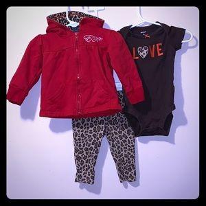 Girls 6 month 3 piece set leggings, onesie, hoodie